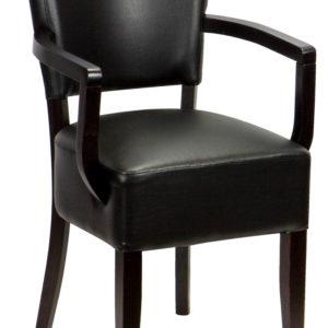 stol med armlæn i sort læder